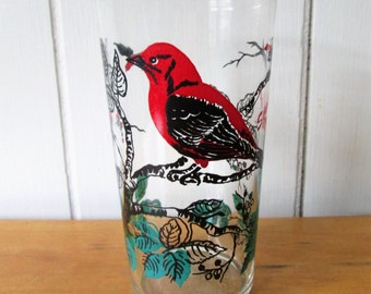 vintage Scarlet Tanager glass