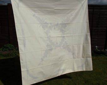Vintage Embroidery Pattern- Printed linen cream tablecloth - Floral and Geometric Design