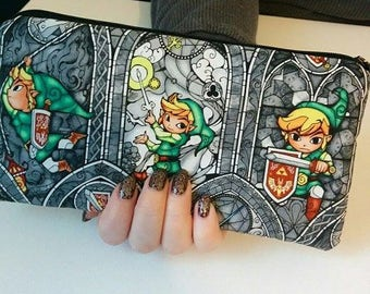 ZELDA LINK Gray Padded Zippered Wallet  Pouch Make Up Bag Pencil Case Anime Cosplay