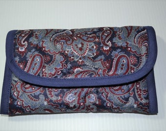 Quilted Fabric Wallet Clutch Navy with Burgundy and Gray Paisley