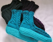 Womens Handknitted Slippers, 4 Pairs, Custom Adult Bedsocks