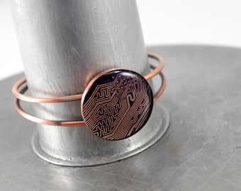 Circuit Board Bracelet - Copper & Purple, Circuit Board Jewelry, Engineer Gift, Geeky Bracelet, Computer Geek Gift, Graduation Gift for Her