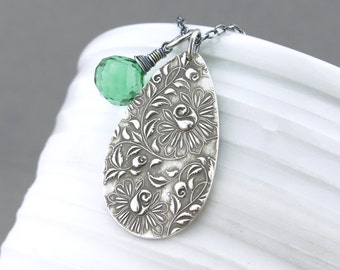Simple Green Necklace Green Gemstone Necklace Silver Charm Necklace Gemstone Jewelry Silver Necklace Gift Under 75 Modern Jewelry - Solo