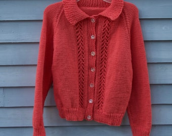 Girl's  , size 12, Cardigan Sweater, coral with lacy panels and collar.