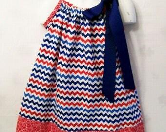 Girls Red White Blue Chevron Pillowcase Dress,  Girls Clothing, Baby Girls Dress, Toddler Big Girls Dress, handmade, USA Made, #173