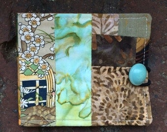 Needle book, needlebook, sewing notion, woodsy greens & browns
