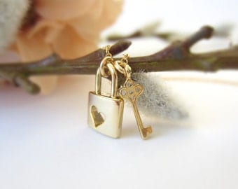 Lock and key necklace, gold pendant necklace, romantic jewelry, lovers, heart necklace, valentines jewelry, love necklace, friendship