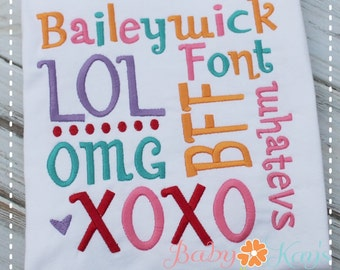 """Baileywick Embroidery Font 1"""", 1.5"""", 2"""", 2.5"""", 3"""", and BX"""