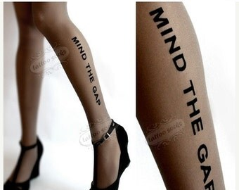 SALE//17%off// grey naughty MIND THE Gap tattoo thigh high stockings / nylons