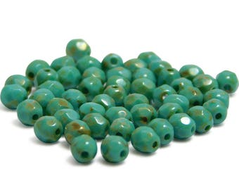 Fire Polished Beads - 4mm Beads - Round Beads - Turquoise Picasso - Czech Picasso Beads - Czech Glass Beads - 50pcs (1449)