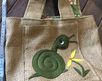 Vintage burlap tote bag 60s snail sewing bag