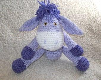 Lavender Crochet Amigurumi Donkey-Handmade amigurumi donkey-Toy-Plushie-Ready to Ship