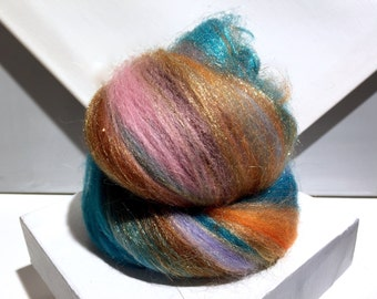 "fiber art batt, wool, roving, ""90 Minutes to Taos"" spinning, felting, turquoise rust topaz copper sienna pink lavender blue, Southwest color"