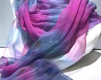 """fuchsia Silk gauze, silk gauze fabric, Hand Dyed silk scarf, 12 x 120"""" fuchsia pink violet blue, learn nuno wet felt kit, tutorial, DIY GIFT"""