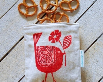 Red Bird Reusable Snack Bag Cosmetic Case