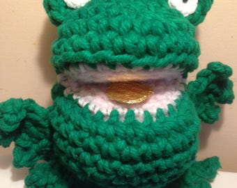 Lucky Lucky Lucky Money frog. Green. Amigurumi. 6 inches tall. 8 inches wide. Wishing frog.