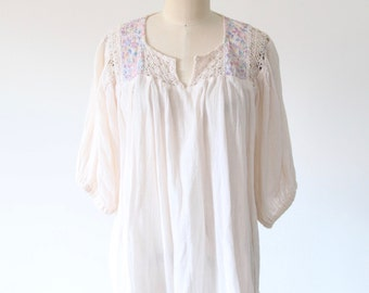 Vintage Cream Gauze Top with Pastel Embroidery