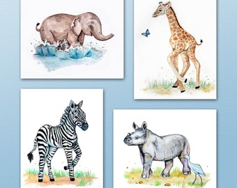 Set of Four Painted Safari Animal Art prints. Jungle Animals. Wall Art. Nursery Art. Elephant,Giraffe,Zebra,Rhino,Monkey,Lion
