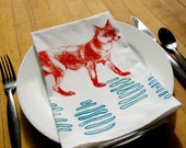 Fox Cloth Napkin Set, Hand Printed, White Cotton Flour Sack, Set of 2,4,6, Orange & Turquoise-Eco Friendly