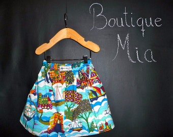 Sample SALE - Will fit Size 6-12 month up to a 2T - Ready to MAIL - SKIRT - Alexander Henry - Sailing the Ocean - by Boutique Mia