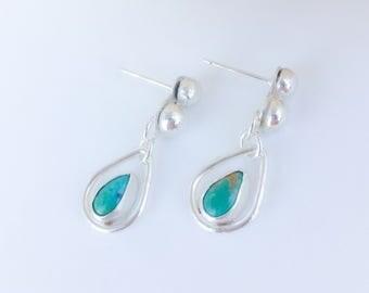 Artisan Turquoise Earrings, Sterling Silver Silversmith Minimalist Drop Earrings, Pear Raindrop Silver Ball Modern Classic Timeless Look