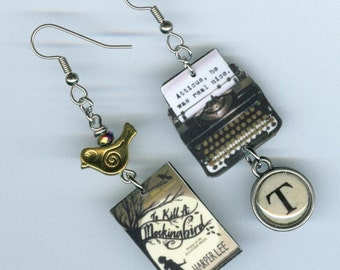 Book typewriter key Earrings - To Kill a Mockingbird jewelry - Harper Lee authors quote - book club readers librarian literary gift