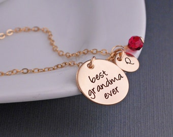 Custom Grandma Necklace, Mothers' Day Gift for Grandma, Jewelry for Grandma, Personalized Gold Necklace for Grandma with Birthstone Charms