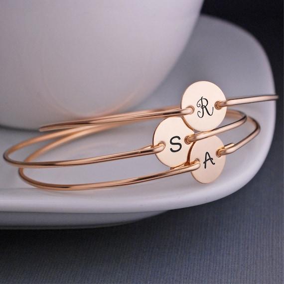 Bridesmaid Bracelet, FOUR Personalized Bridal Jewelry, Custom Gold Bracelets, Bridesmaid Initial Charm Jewelry