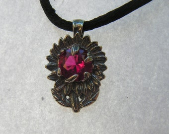 Sunflower Pendant Sterling Silver With Ruby
