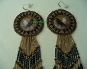 Native American Style Rosette Beaded Raven and Spirit Raven Earrings in Tan Black and Bronze