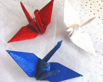 Alt Patriot Glitter Peace Crane Bird, Wedding Cake Topper Party Favor Origami Christmas Ornament Table Decoration Japanese Paper Anniversary