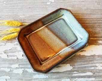 Pottery Soap Dish - Amber & Aqua - Handmade Soap Dish - Extra Large Soap Dish