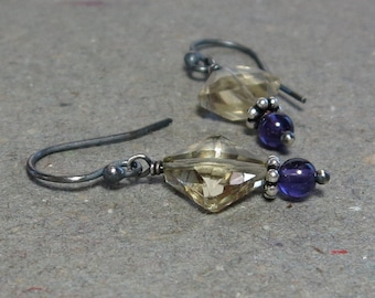 Citrine, Amethyst Earrings November February Birthstone Oxidized Sterling Silver Earrings Gift for Mom