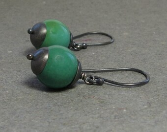 Turquoise Earrings December Birthstone Oxidized Sterling Silver Large Gemstone Earrings Gift for Her