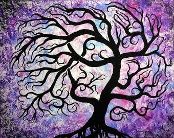 Tree painting, Winter Frosty windblown Tree, Original acrylic painting by Jordanka Yaretz