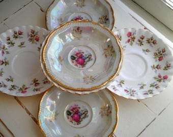Royal Albert Winsome & Fresh Vintage China Saucers Small Desert Plates Side Plate Set of 6 - Limoges Courting Couple Floral Rose Bone China