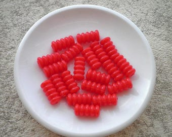 15 Vintage Red Plastic / Lucite Pasta Noodle Shape Beads - Bright Opaque Red Retro Mid-Century Bead / Beading Crafting Jewelry Making Supply