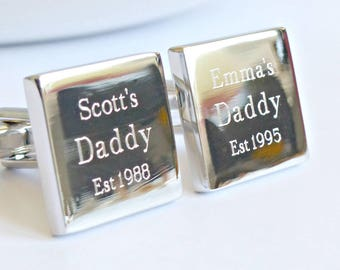 Personalized Silver Established Date Square Tile Cufflinks
