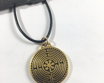 Gold Chartres Labyrinth Necklace on Leather & Sterling Silver Cord, All Who Wander are Not Lost, Journey Jewelry, USI New Harmony Gift Her