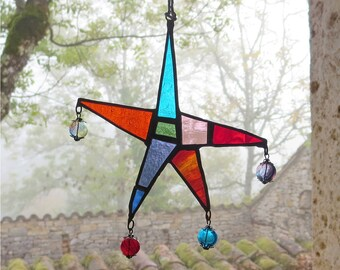 Bohemian Suncatcher, Star Suncatcher, Colourful Glass Window Decor