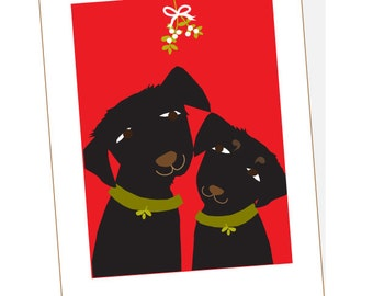 holiday card collection black labs with mistletoe