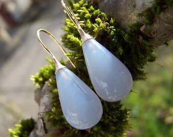 Blue  Chalcedony Drop, solid 14K gold  earrings