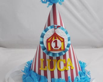 Circus Tent 1st Birthday Party Hat- Personalized Baby Boy