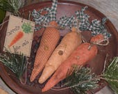 Set of 3 Assorted Primitive Rustic Country Easter Spring Time Bunny Rabbit -- Carrots for Sale -- Ornaments Ornies Bowl Fillers Tucks