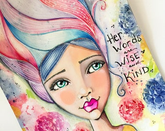 Proverbs 31 Collection / Her Words Are Wise and Kind / Print Inspirational Watercolor Art /