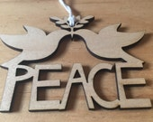 peace doves wooden ornament