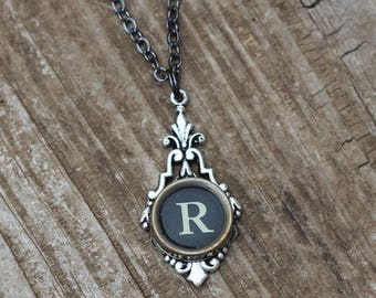 Personalized Initial Necklace, Letter R, Vintage Typewriter Key Jewelry