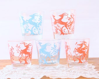 Vintage Mid Century Federal Gazelle Glasses Red and Turquoise Set of 5 Rocks Glasses, Barware, Cocktails, Tumblers Bar Decor