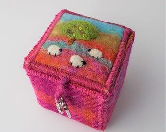 Pink Harris Tweed and Felt Trinket Box with Tree and Sheep