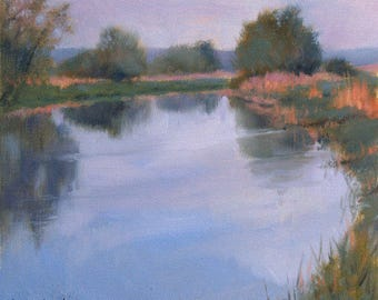 River Thames in the Morning, landscape plein air oil painting 10x9in